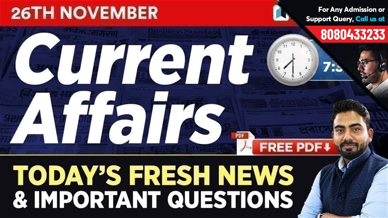 26th November Current Affairs - Daily Current Affairs Quiz   Important Gk  Questions in Hindi