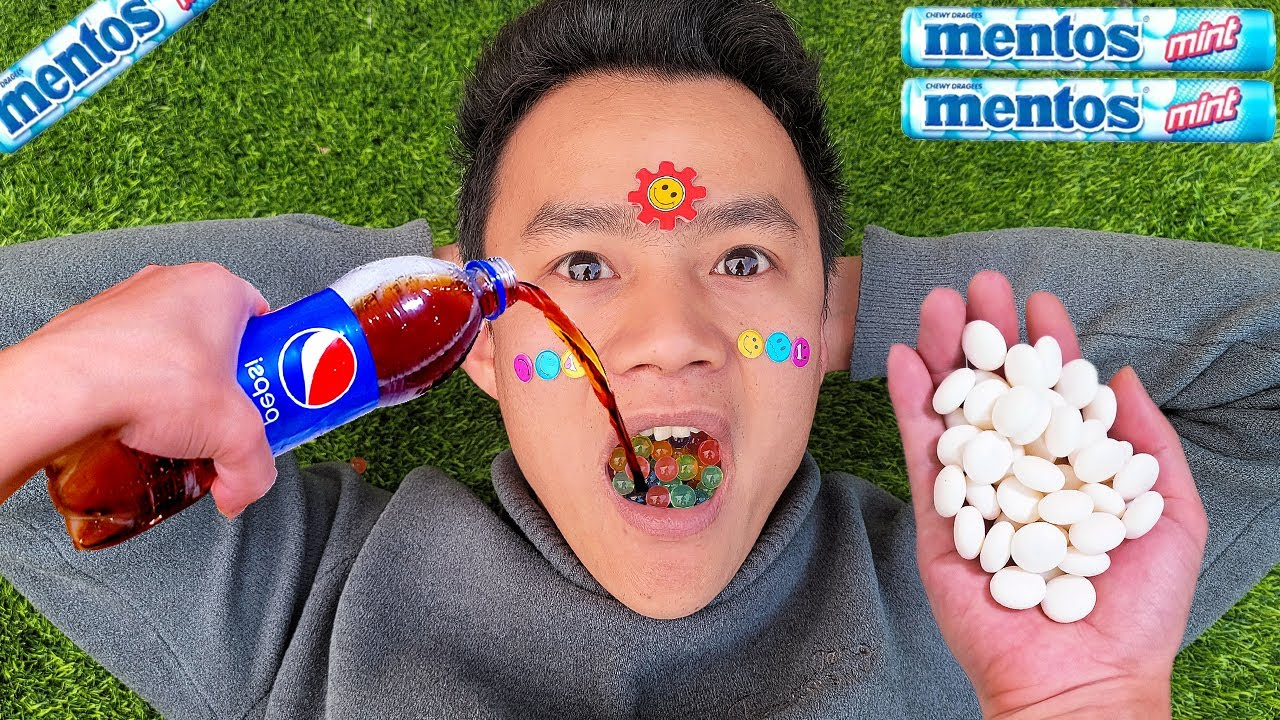 Coca Cola, Fanta, Pepsi,Sprite and Different snacks in the mouth vs Mentos in Underground | Orbeez