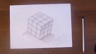 уроки рисования.Учимся рисовать кубик рубик.How to Draw rubik cube