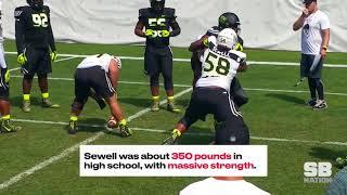 Massive O-lineman Penei Sewell destroys D-linemen for fun