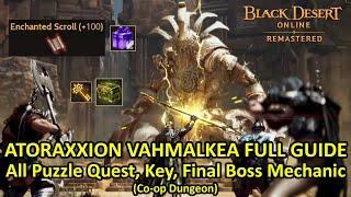 ATORAXXION Dungeon VAHMALKEA FULL GUIDE, All Puzzle Quest, Key, Final Boss Mechanic & Knowledge Info