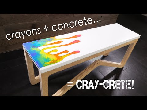 Building a CRAYON & CONCRETE bench (plus Epoxy Resin) || how to make