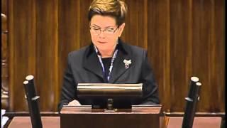 CAŁE expose premier Beaty Szydło - 18/11/2015