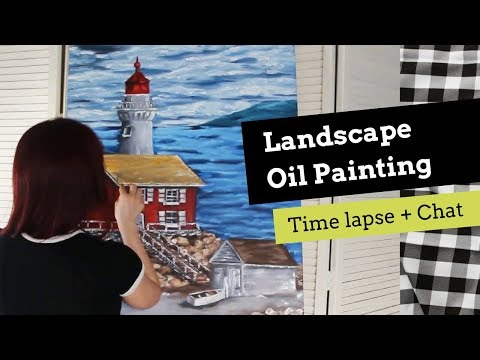 Ocean Landscape Oil Painting Time Lapse + Personal Chat