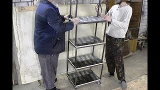 Foldable tool trolley.