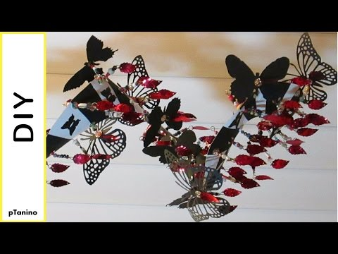 Beaded Butterfly Spiral Mobile and Easy Glued Image Mobile