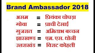 HERE IS GIVEN NAME OF SOME IMPORTANT BRAND AMBASSADOR. Shoaib Akhtar is brand ambassador of PCB Pakistan cricket board Sachin Tendulkar its brand ambassador of T20 Mumbai League swachh Bharat mission in Ghaziabad its brand ambassador is Suresh Raina AR Rahman is brand ambassador of Indian state Sikkim Amitabh Bachchan hits brand ambassador of Muthoot group Virat Kohli is the brand ambassador of Amaze which is a branch of luminous power Diya Mirza is brand ambassador issue related with Environment protection Virat Kohli is appointed as a new brand ambassador of Uber which is a online taxi services for indoor cricket team Sandeep Patil is appointed as brand ambassador Vidit Gujrathi is appointed as old Indian chess federation for the blind aicf India Kriti Sanon is appointed as brand ambassador of water whereas Smriti mandhana wh
