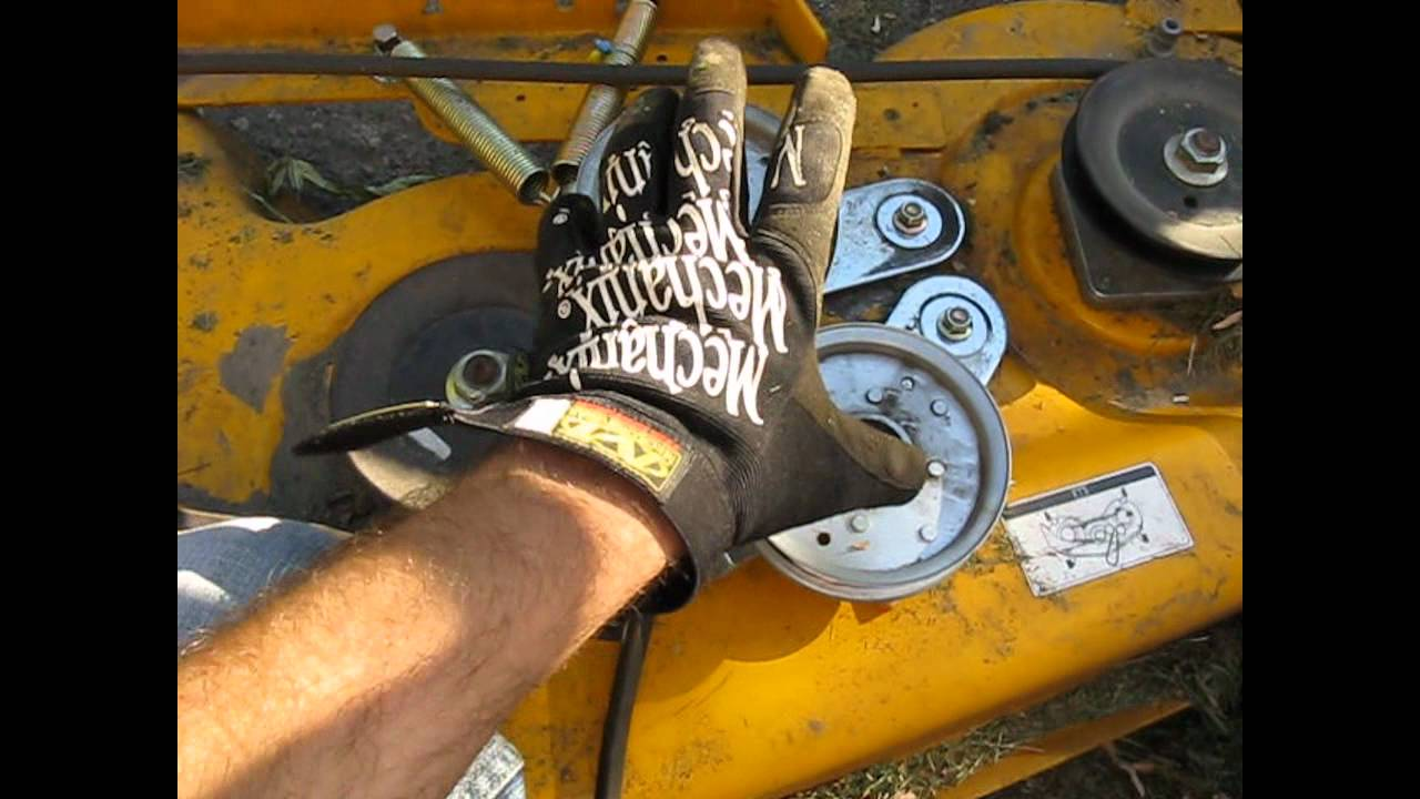 maxresdefault cub cadet mower belt (coming off) deck fix lt 1045 part 1 youtube cub cadet 2166 wiring diagram at virtualis.co