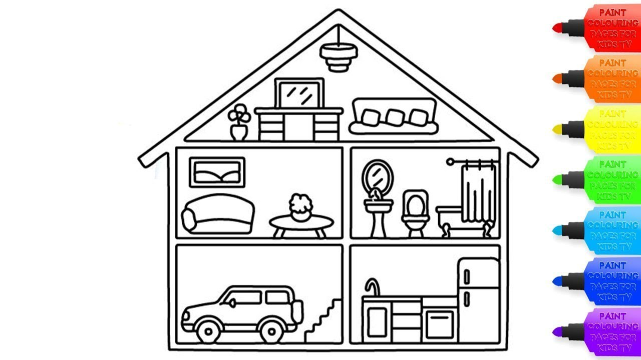How to draw a inside House for kids - inside House coloring page for  kids-Coloring Books