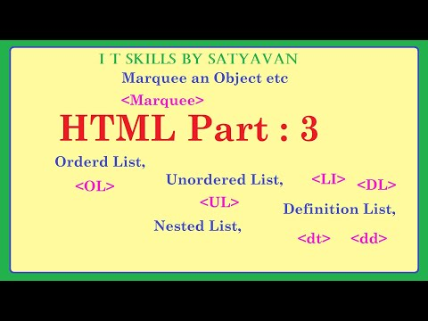 HTML Part 3: Different Types Of Lists And Marquee An Object