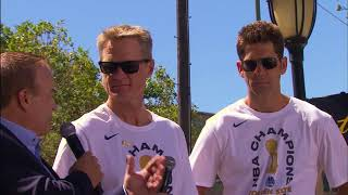 Steve Kerr, Bob Myers bask in glory of Warriors victory at Oakland parade