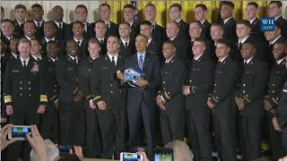 Navy Football Team Claims Trophy At White House