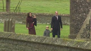 Prince George and Princess Charlotte walk to church on Christmas day