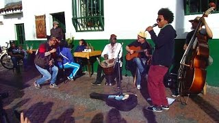 Colombian Street Musicians in Bogota, Colombia