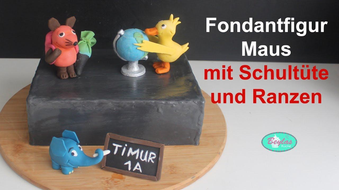 """Fondantfigur Maus mit Schultüte aus """"Die Sendung mit der Maus"""""""