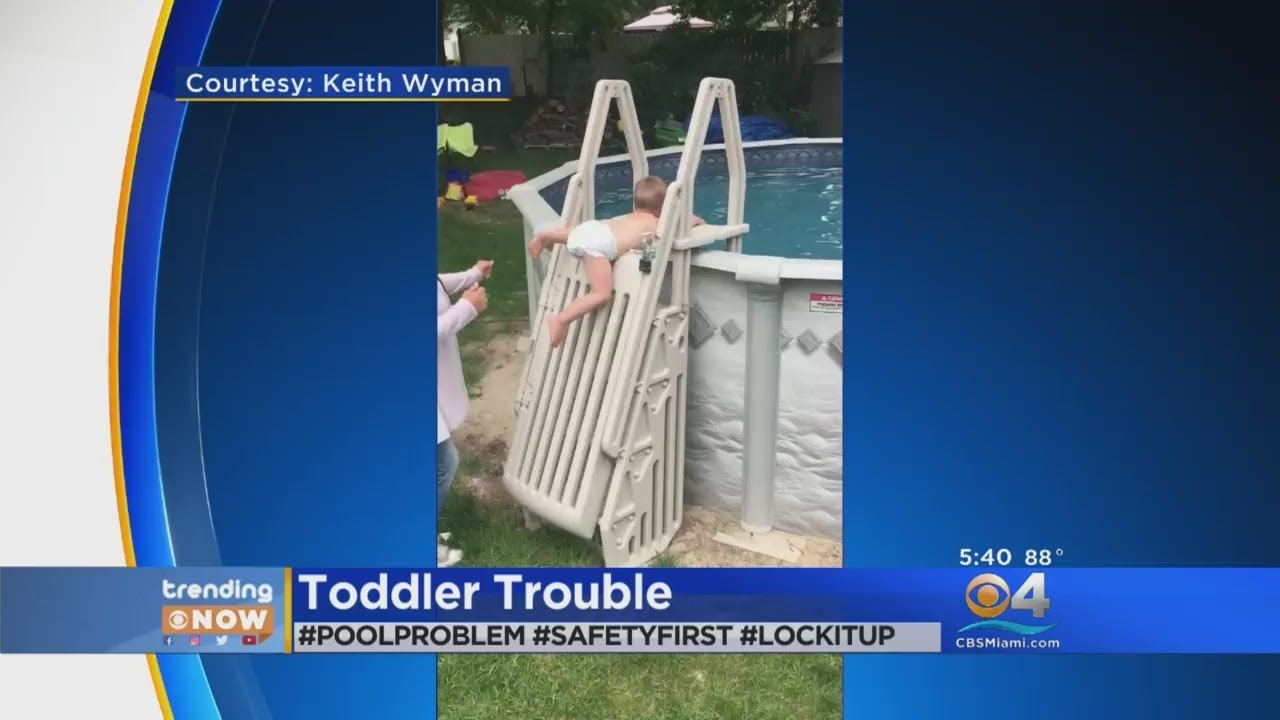 Trending Video Shows Toddler Climbing Locked Pool Ladder Youtube
