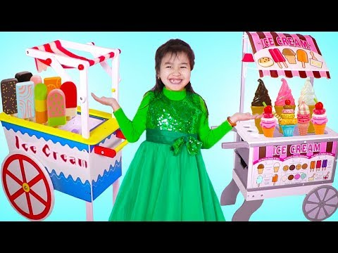 Jannie Pretend Play with 2 Ice Cream Cart Toys