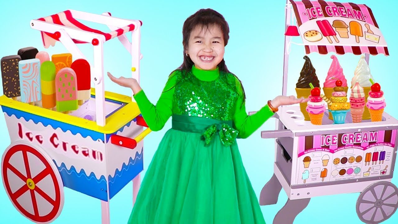 Jannie Pretend Play With 2 Ice Cream Cart Toys Youtube