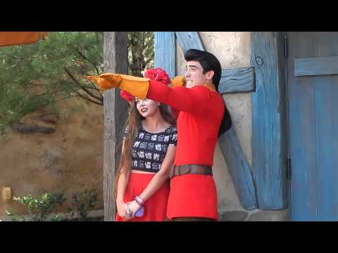 GASTON gets little girl a Birthday button at his shop! Magic Kingdom Disney World