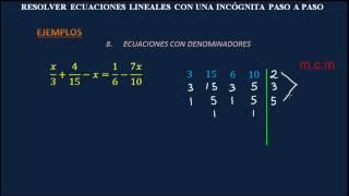 RESOLVER ECUACIONES LINEALES CON UNA INCÓGNITA PASO A PASO - Ejercicios Resueltos
