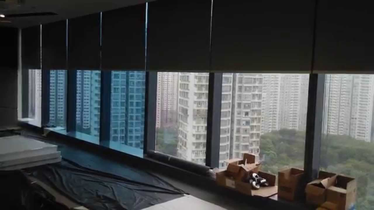 Motorized roller blinds with blackout fabric youtube for Motorized blackout roller shades