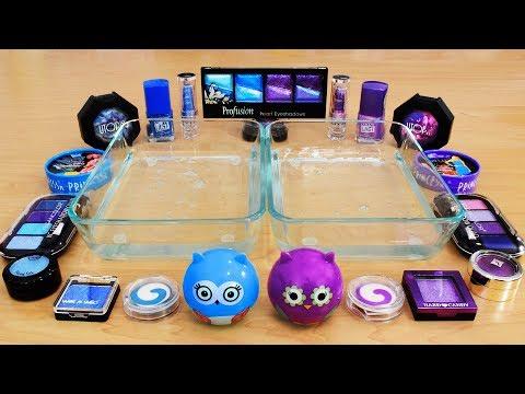 Mixing Makeup Eyeshadow Into Slime! Purple vs Blue Special Series Part 40 Satisfying Slime Video