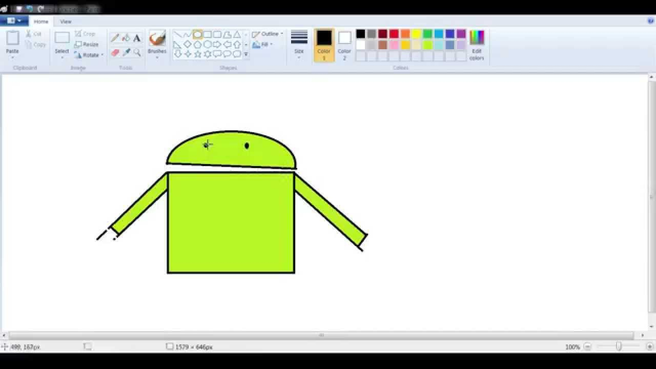 android paint lesson in windows paint- draw an android robot - youtube