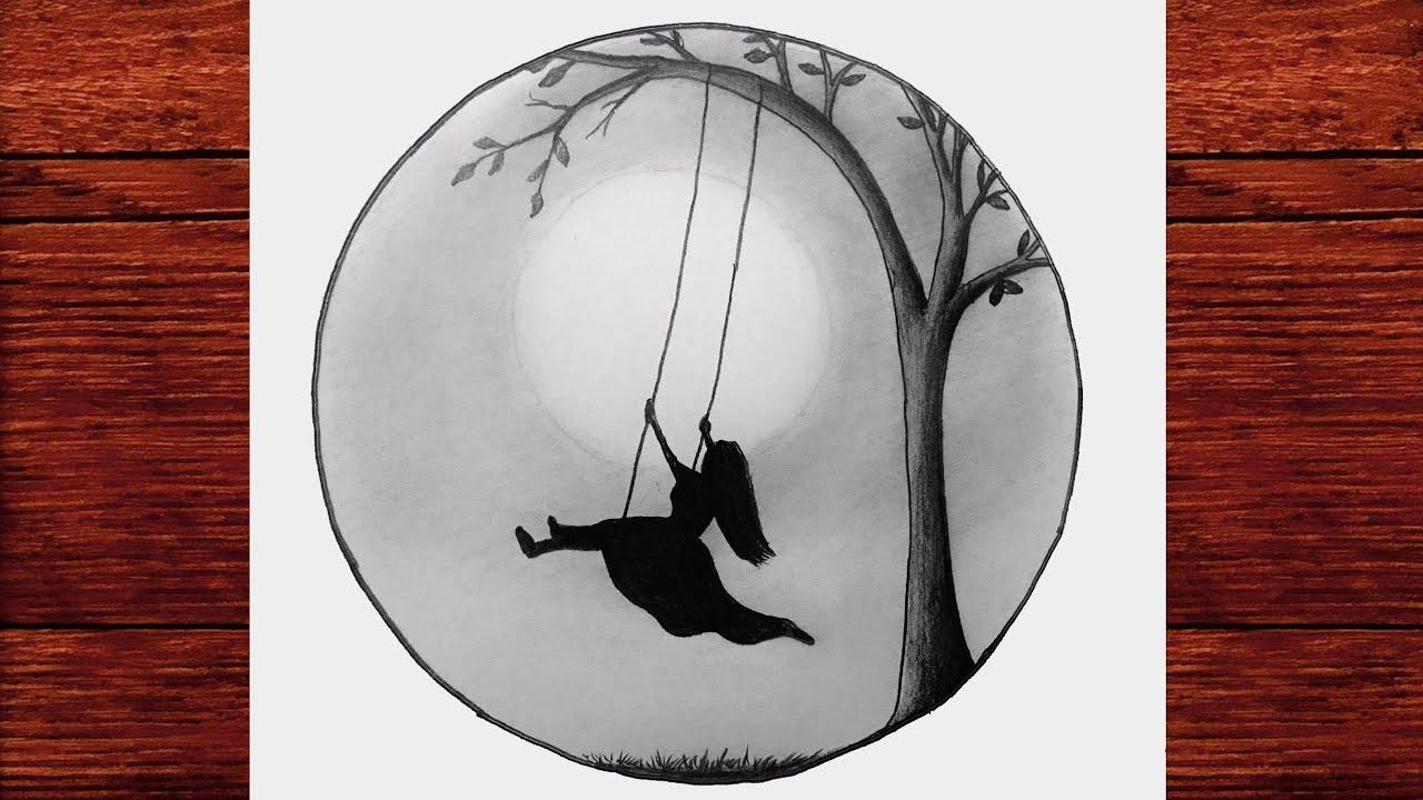Download Salıncakta Sallanan Kız Çizimi #2 - Karakalem Çizimleri - Drawing Alone Girl Swinging in a tree