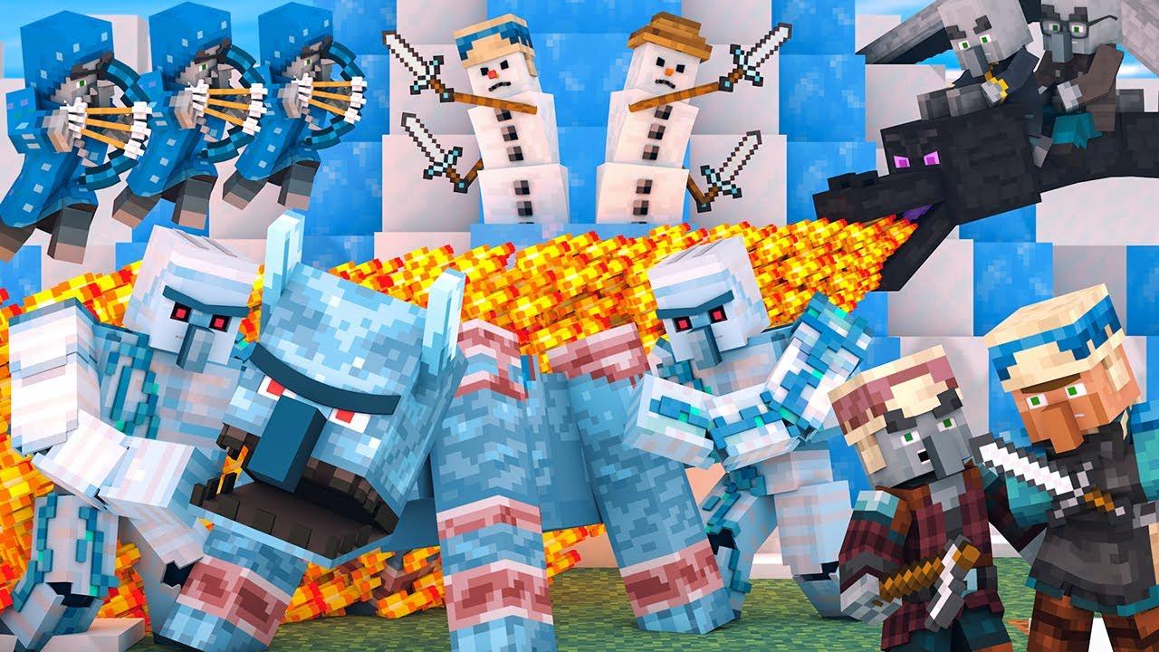 Villager vs Pillager Life Winter War: FULL ANIMATION - Minecraft Animation
