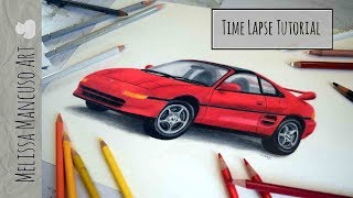 Drawing a Car Toyota MR2 in Colored Pencil - Melissa Mancuso Fine Art