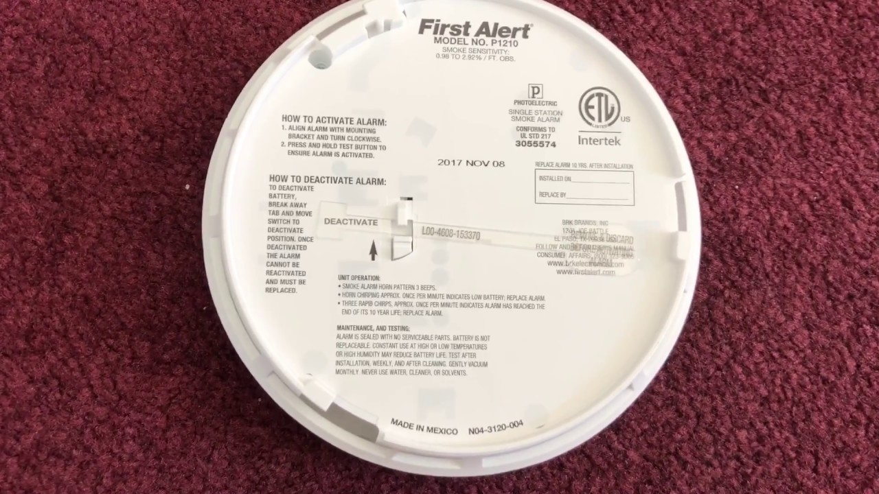 small resolution of how to get the first alert model p1210 smoke detector to activate