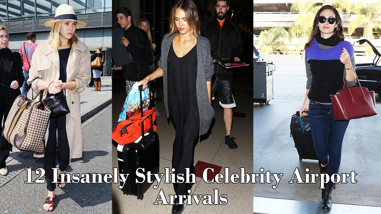 12 Insanely Stylish Celebrity Airport Arrivals Youtube