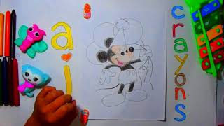 Disney - How to Draw Mickey Mouse Holding 3 Balloons - Drawing and Coloring for Kids using Crayons