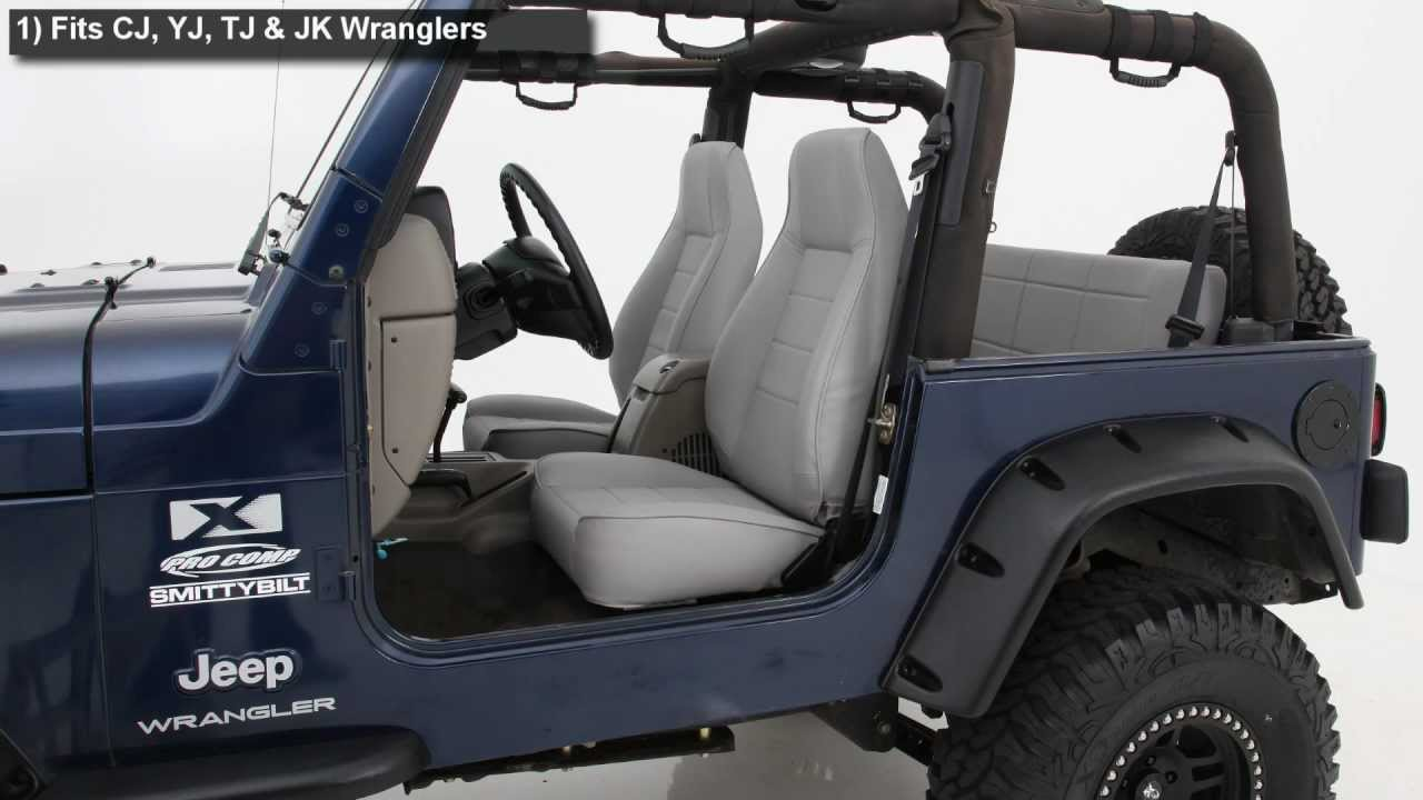 Jeep Wrangler Seats >> Smittybilt Standard Bucket Seats For Jeep Wrangler Youtube
