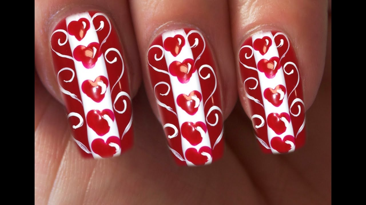Valentines day special 110 love hearts nail art tutorial youtube prinsesfo Images