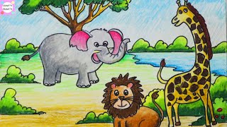 How to draw scenery of forest step by step    Jungle Scene Drawing for Kids  easyway to draw scenery