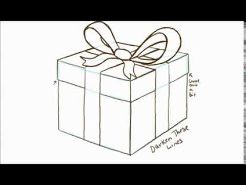 How To Draw A Gift Or Present With A Bow Youtube