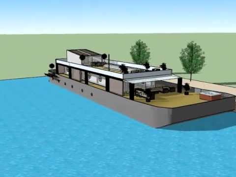 "Transformation of an Old Barge- into a ""Modern Luxury Houseboat"" Amsterdam - Grand Design"