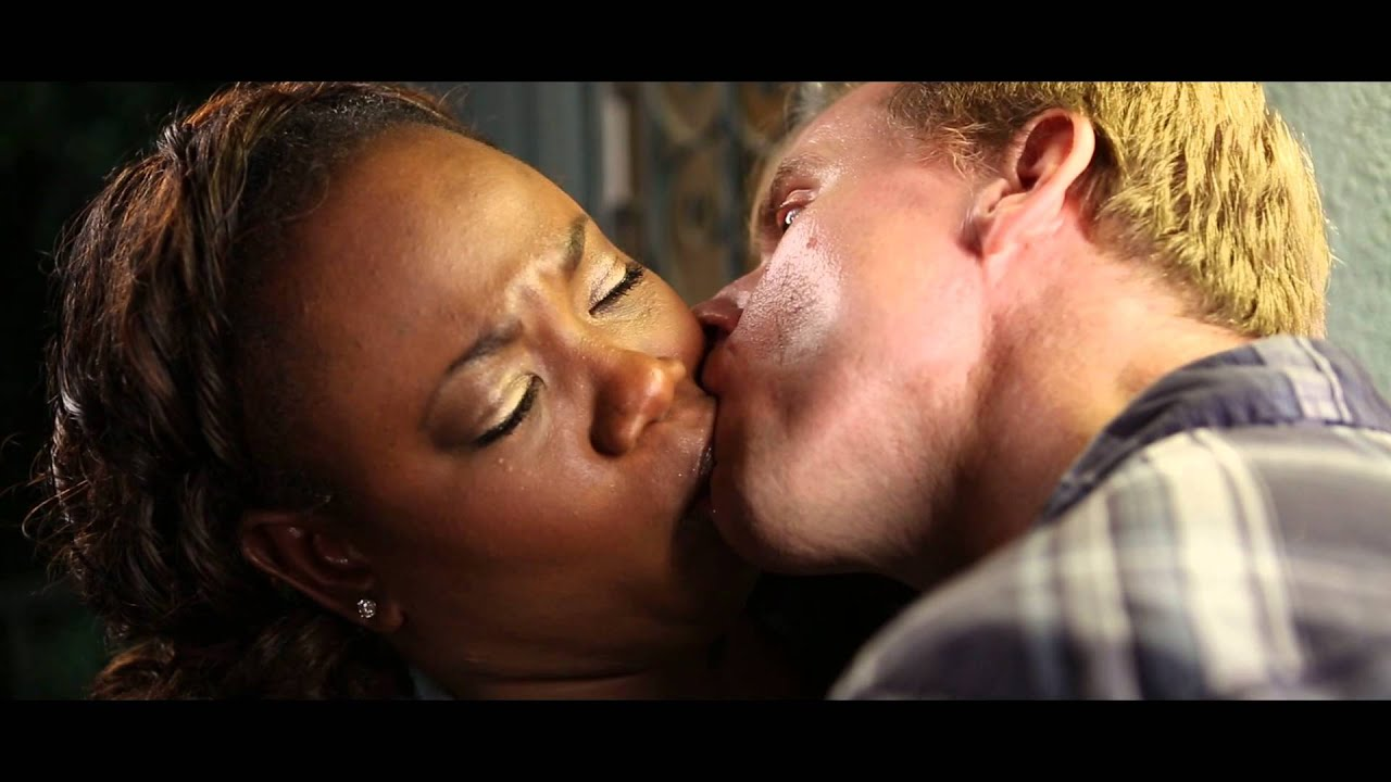 Kissing white man woman sex black