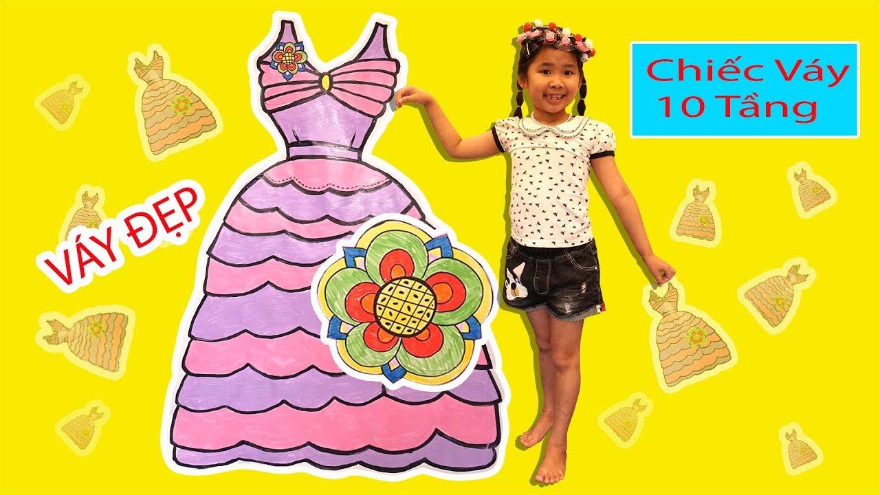 Bé Bún Vẽ và Tô Màu Chiếc Váy 10 Tầng Khổng Lồ Drawing vs Coloring Dress