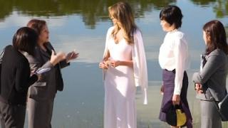 Melania Trump, Akie Abe Tour Japanese Garden