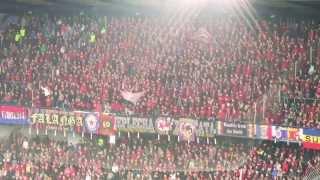 Sparta - Plzeň, 9.3.2014, support Ultras Sparta + příprava chorea