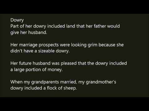 dowry in a sentence