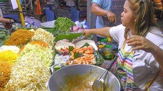 Bangkok Street Food, Soi Rambuttri Night Market. Meat, Fish, Porridge and more Food. Thailand