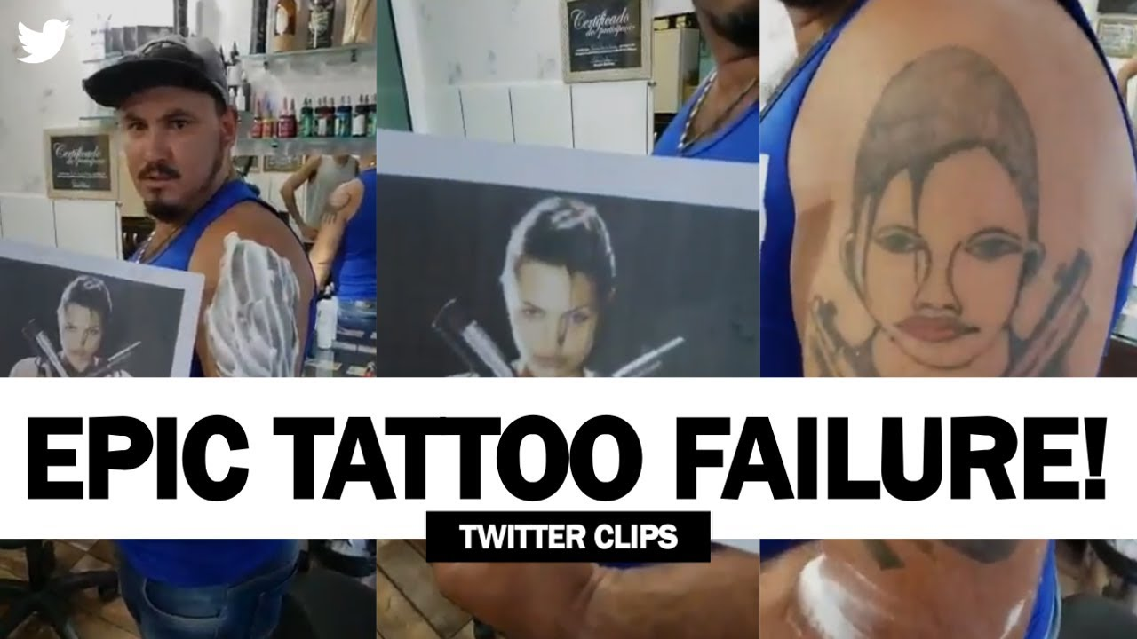 42616bd839410 This Guy Got A Disastrous Tattoo Of Angelina Jolie! | Viral Video! Twitter  Clips