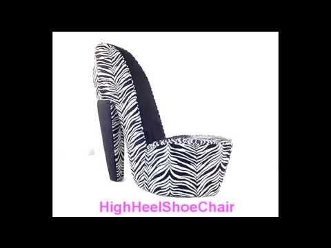 Zebra & Black High Heel Shoe Chair