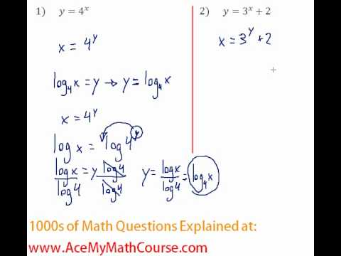Exponents & Logs - Find the Inverse of Exponential Functions #1-2 ...