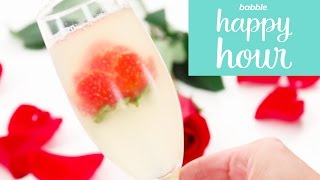 Champagne Jello with Strawberry Flowers | Babble Happy Hour