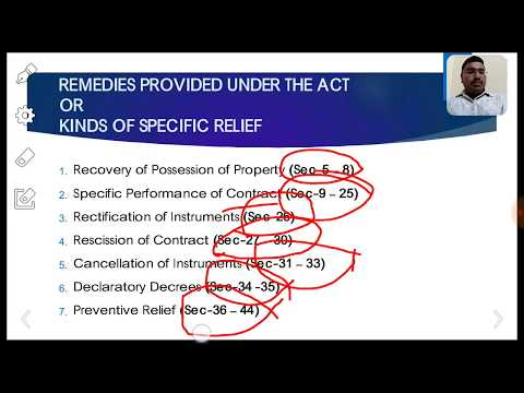 'Specific Relief Act 1963: An Overview' by Subhan Bande, Advocate, Kadapa (Cuddapah)
