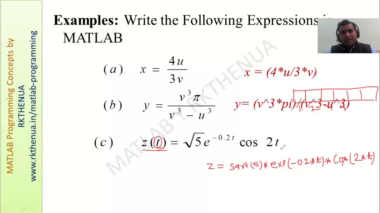 how to write mathematical expression in matlab live